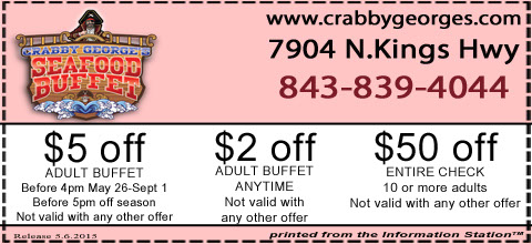Check out our mouth-watering selection of items! Grab a fresh deal for your next trip to Crabby Georges! Tap on the button, fill the details in and get your coupons via email in no time for an Adult Buffet only.